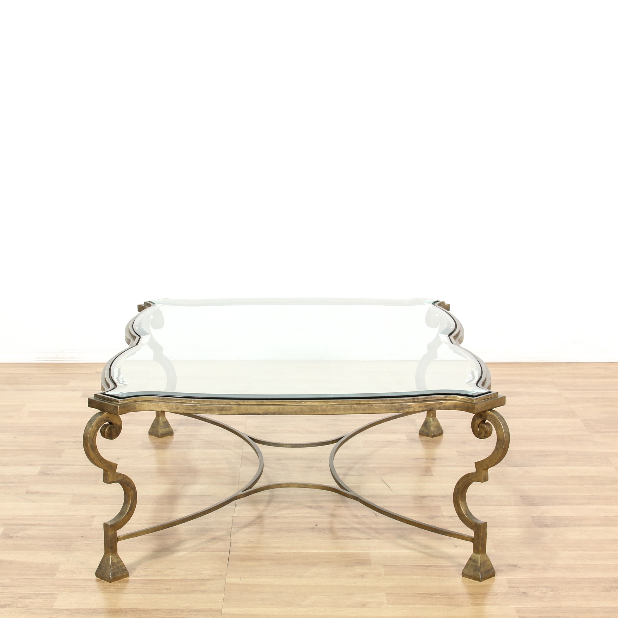 Large Brass Curved Glass Top Coffee Table