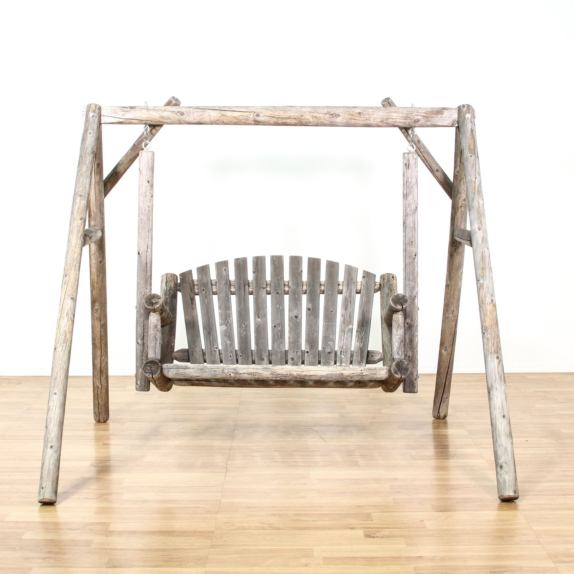 Rustic Raw Wood Outdoor Swing Loveseat Vintage Furniture San Diego Los Angeles