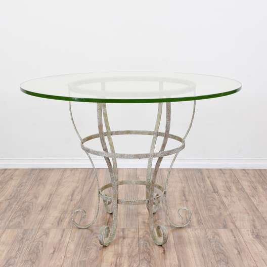 White Wrought Iron Glass Top Outdoor Table