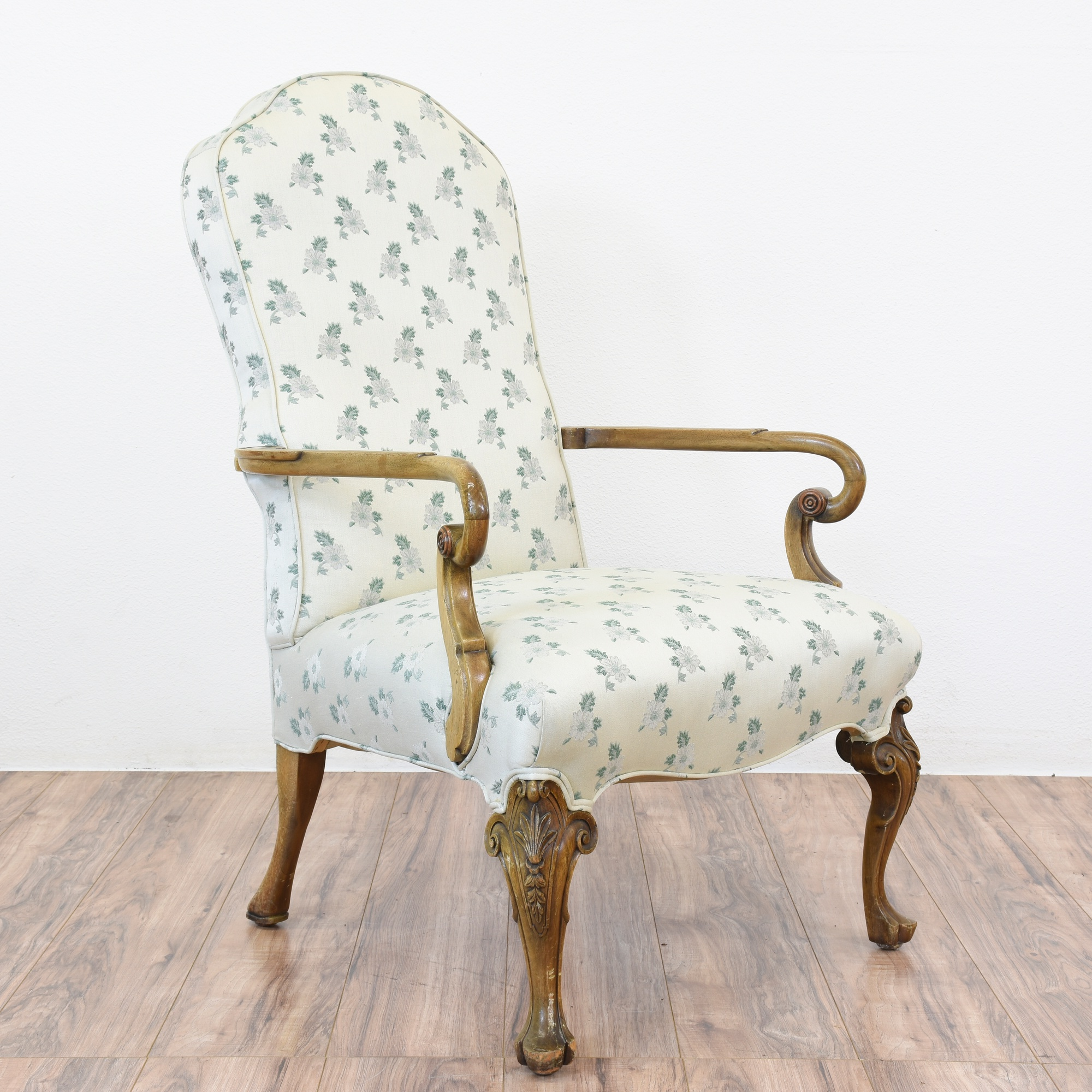 Spanish Colonial Chair W Floral Upholstery Loveseat Vintage - Furniture upholstery san diego