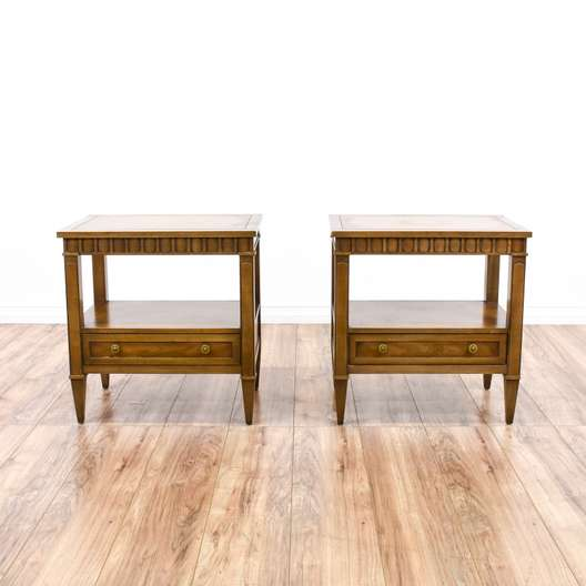 "Pair of ""Drexel Heritage"" Tiered End Tables"