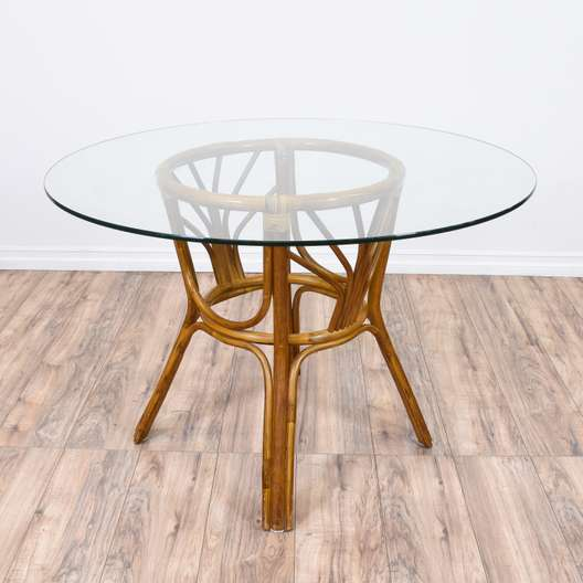 Tropical Rattan Glass Top Dining Table