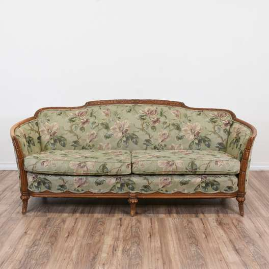 Long Damask Voided Velvet Mustard Yellow Sofa Loveseat Vintage Furniture San Diego