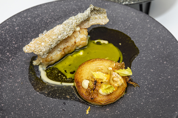 Jack Shaw's main of pressed cod's head with celeriac, chorizo and cod roe