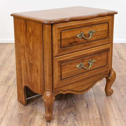 French Provincial 2 Drawer Nightstand