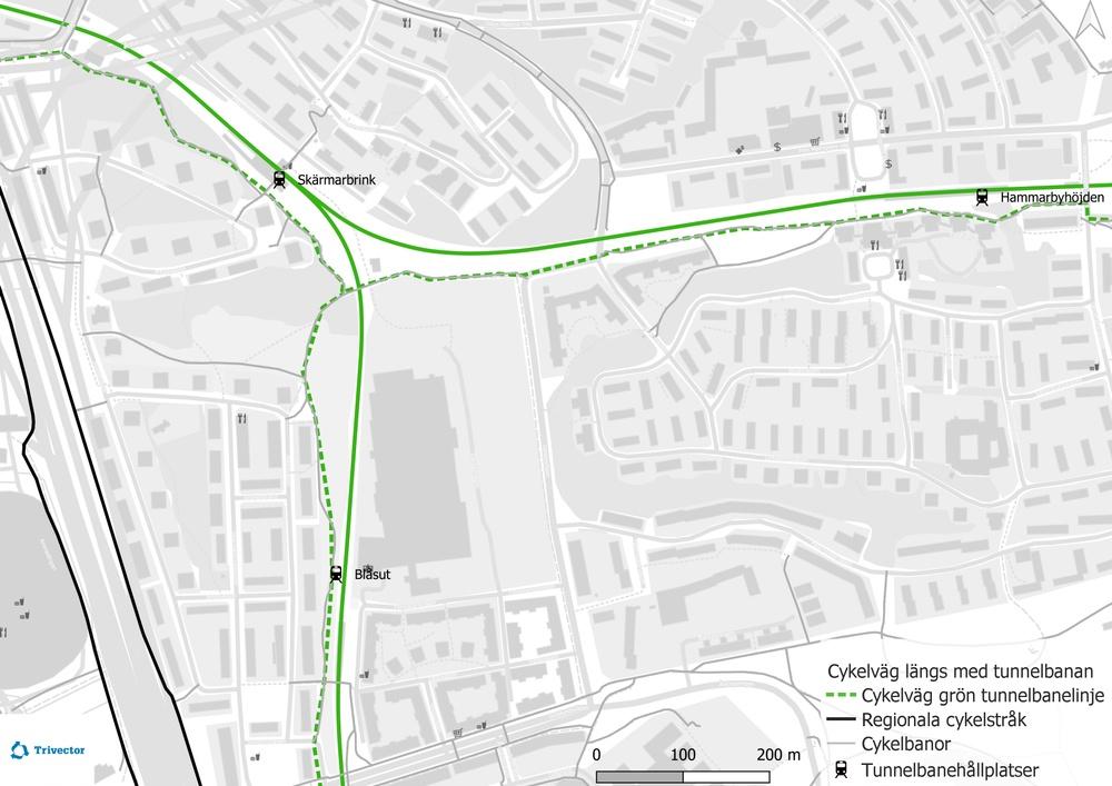 Karta som visar hur du kan cykla mellan stationerna i Stockholms tunnelbanenät. Inzoomat på tre stationer.