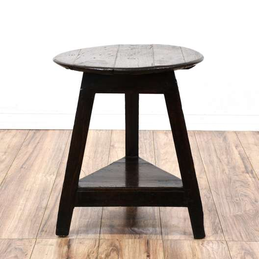 Antique Round 2 Tiered Tripod End Table