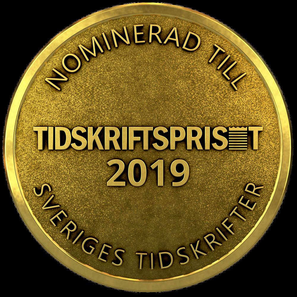 Nomineringsmedalj Tidskriftspriset 2019