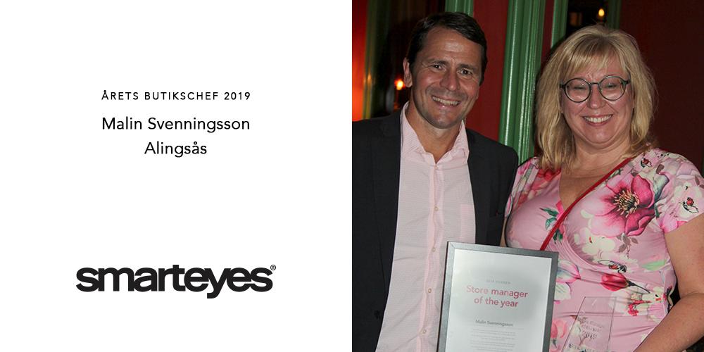 Malin Svenningsson, butikschef i Alingsås tillsammans med Smarteyes Sverigechef Anders Zanton.