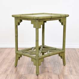 Tropical Olive Green Bamboo End Table