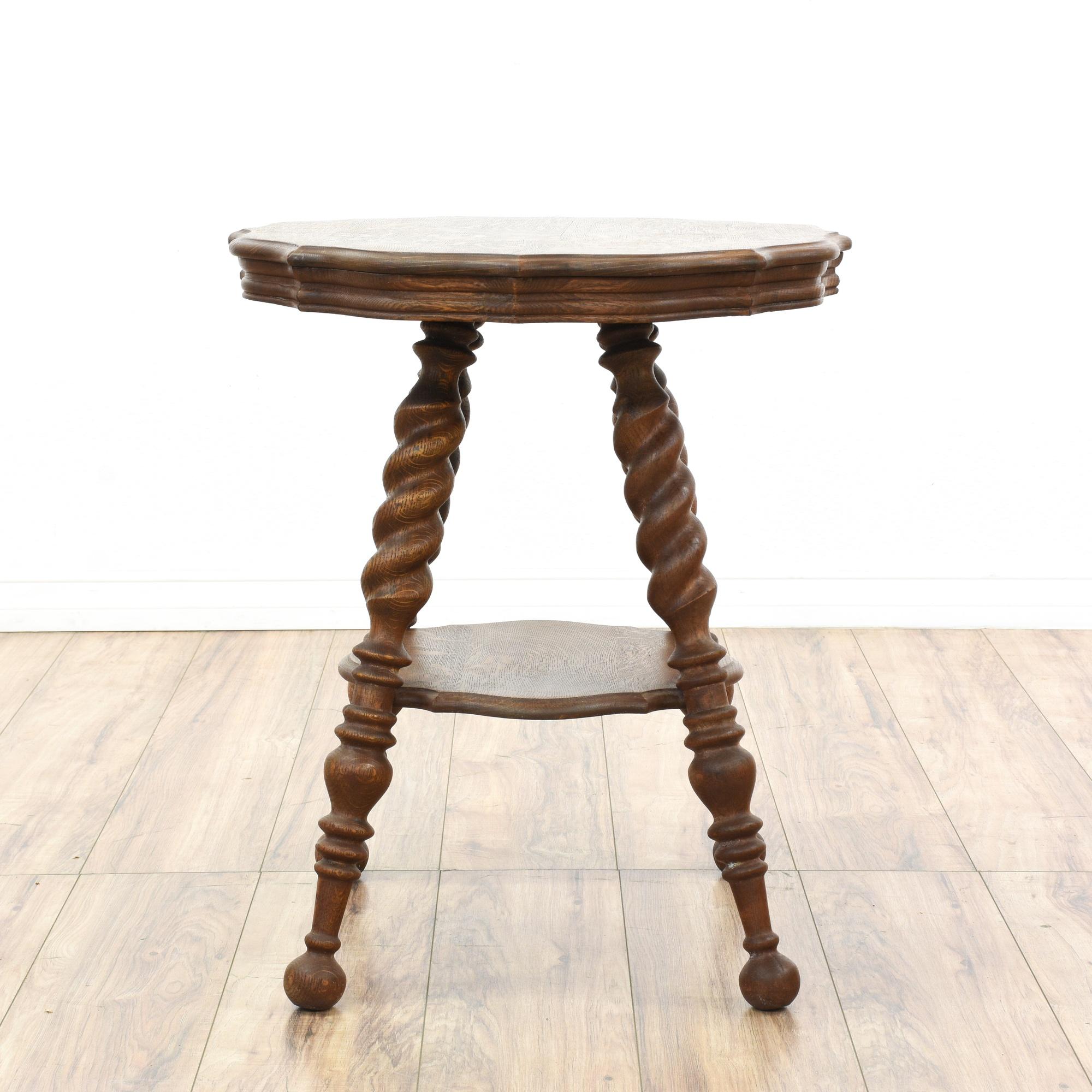 Antique Quarter Sawn Oak Side Table Loveseat Vintage