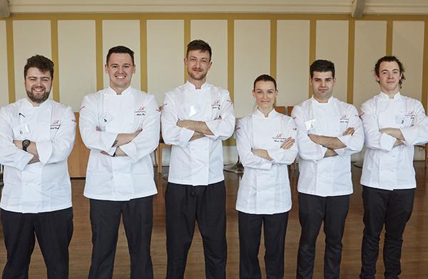 The finalists, from left: Michael Cruickshank, Adam Harper, Lewis Linley, Olivia Burt, Spencer Metzger and Ryan Baker