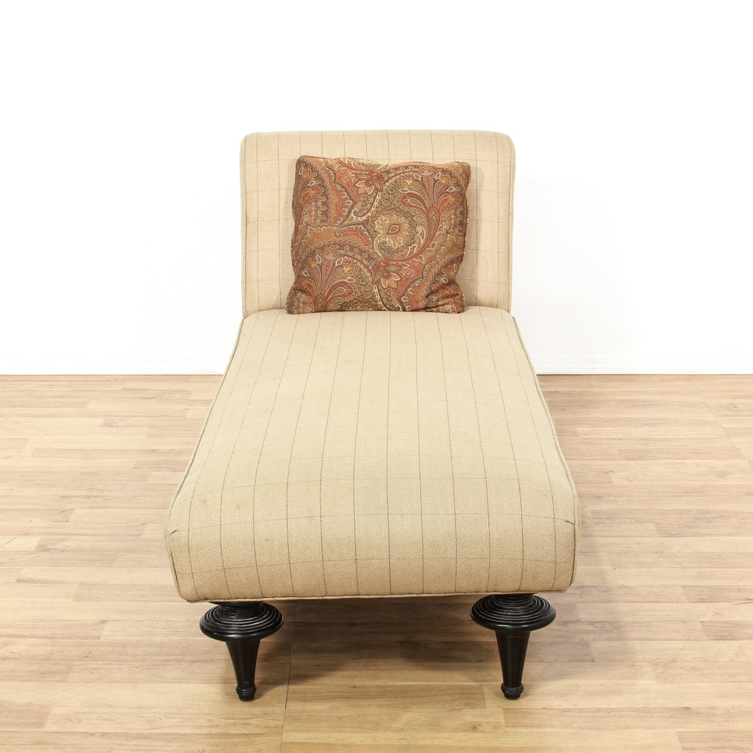 Beige Upholstered Turned Leg Chaise Lounge