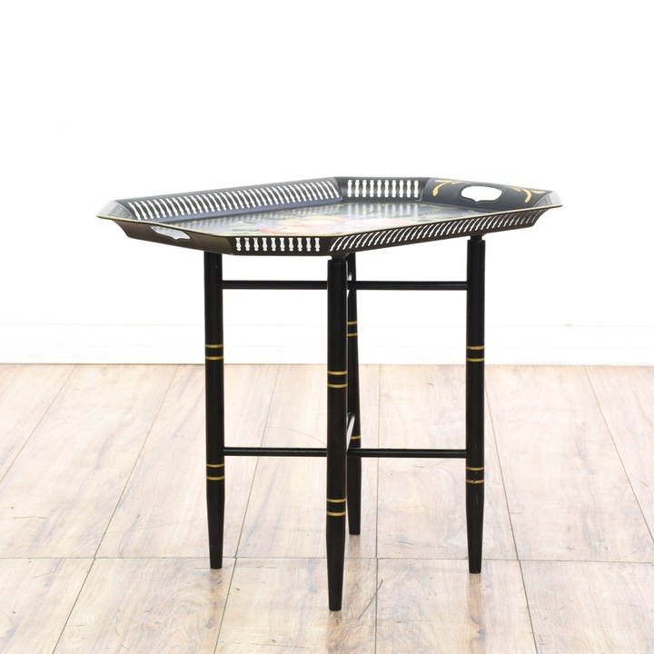 French Rococo Coffee Table: Carved French Rococo Side Table W/ Gold Accents