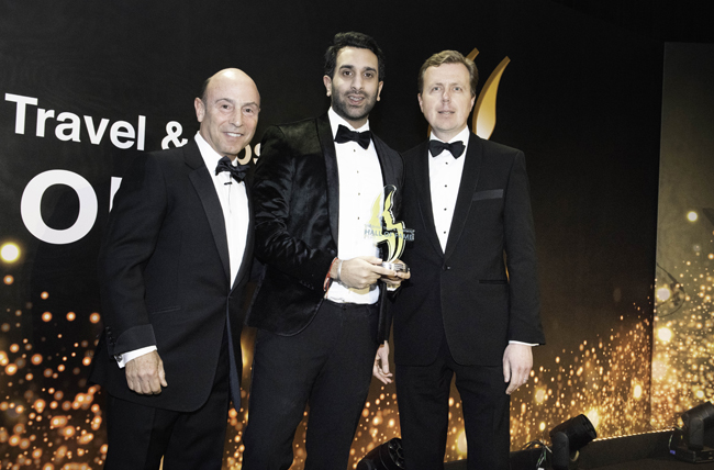 Clive Jacobs, Jacobs Media Group chairman; Young Entrepreneur of the Year (hospitality) winner Vivek Chadha, Nine Hotel Group; and Robin Bidgood, CH&Co commercial division managing director