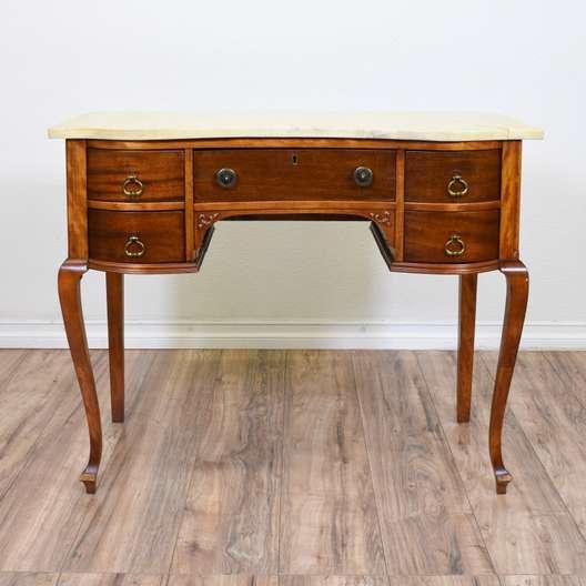 Queen Anne Style Marble Top Vanity Desk