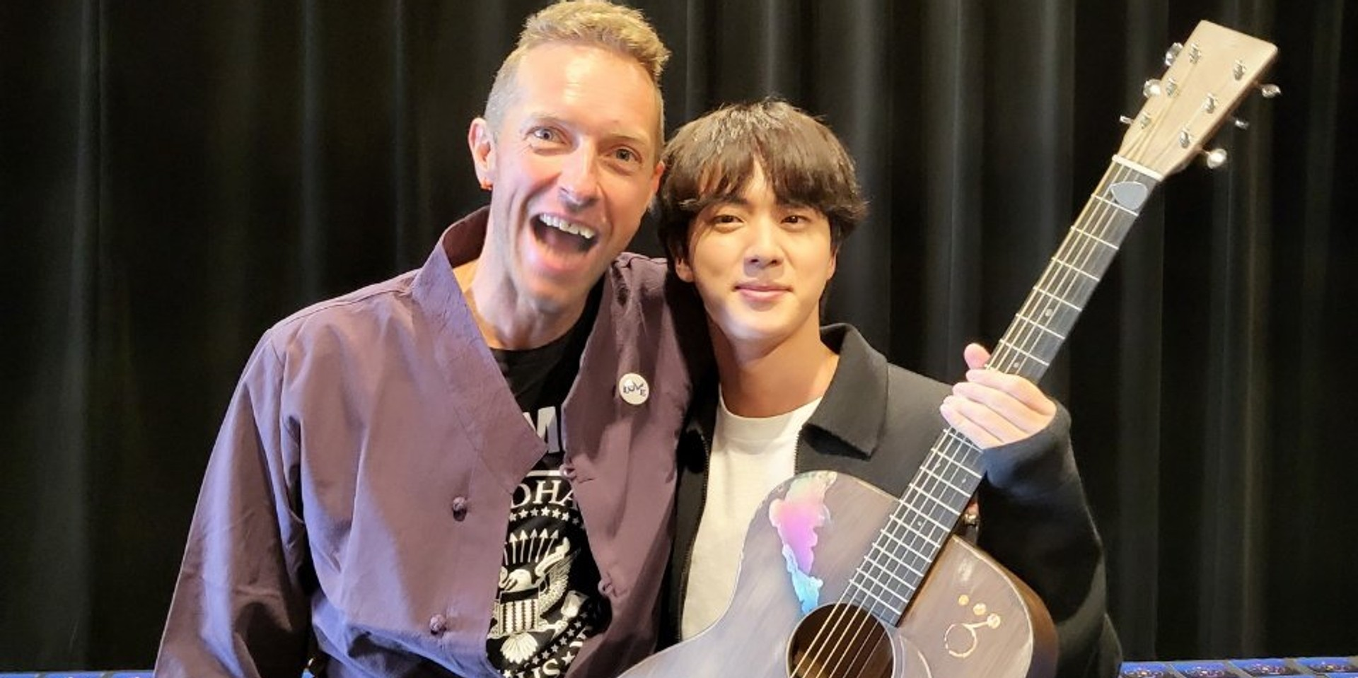 Coldplay's Chris Martin gifts BTS' Jin a signed acoustic guitar