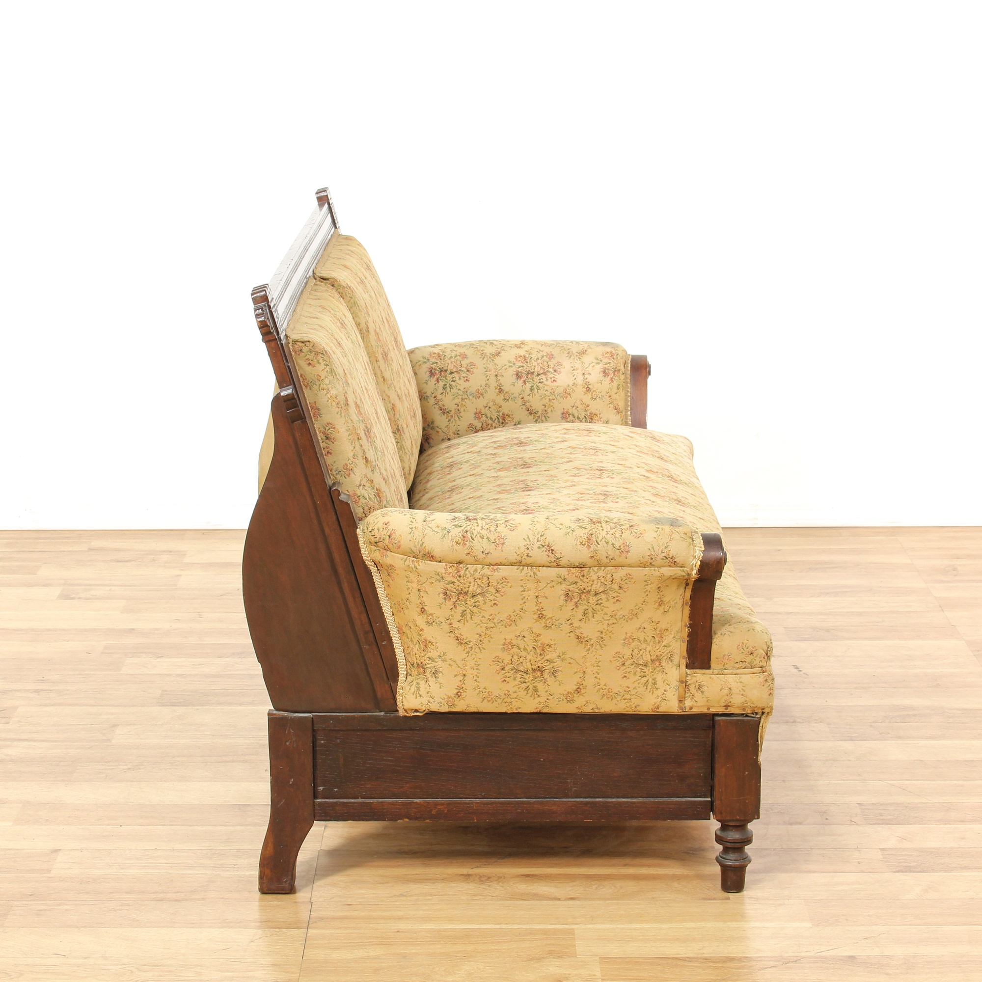 Antique Eastlake Sofa: Eastlake Yellow Upholstered Sleeper Loveseat