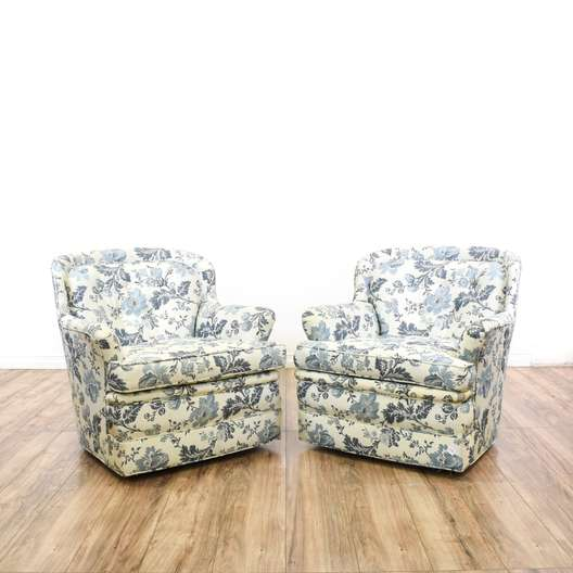 Pair of Blue & White Floral Accent Chairs