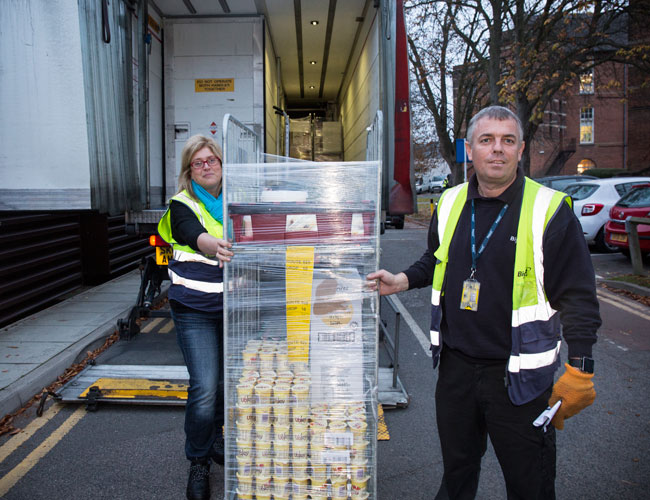The Caterer's Lisa Jenkins on a delivery with Terry Phelps, Bidvest Foodservice driver