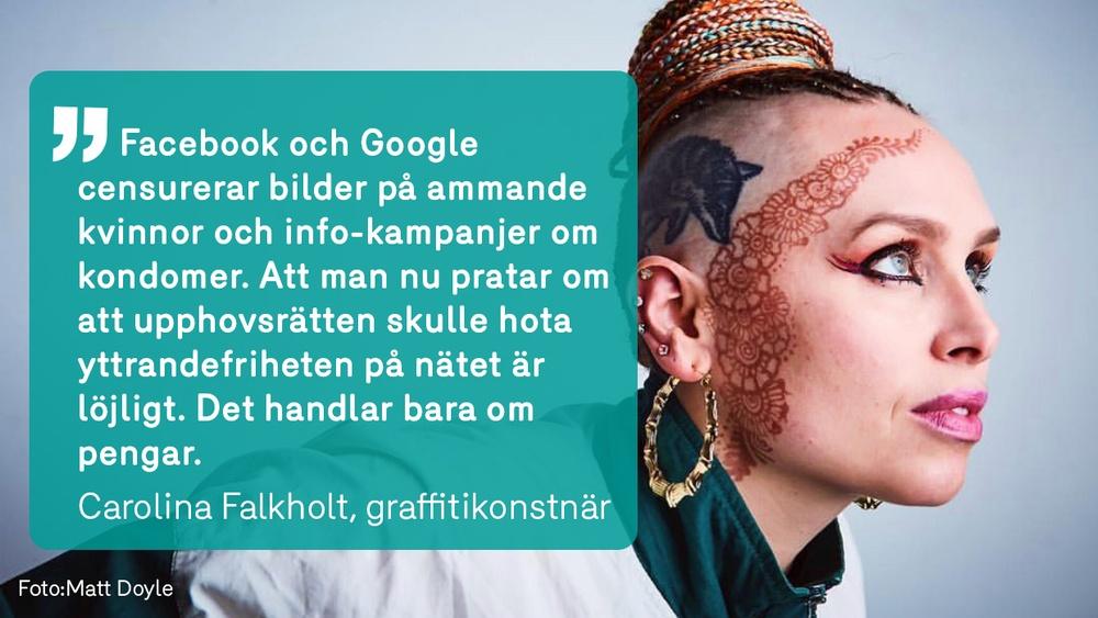Carolina Falkholt är en av över 650 kulturskapare som uppmanar EU-parlamentarikerna att rösta JA till upphovsrättsdirektivet. Foto: Matt Doyle