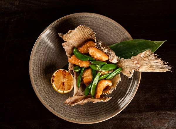 Tempura plaice with yuzu, honey and rocoto pepper sauce