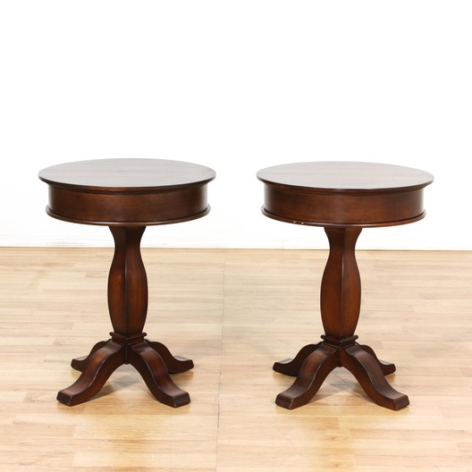 Round Coffee Table Pair: Pair Of Round Pedestal End Tables W/ Drawer