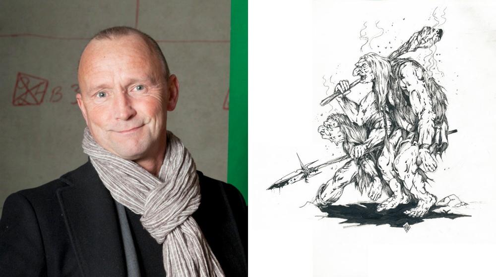 Fot: Ylva Bergman. Illustration: Nils Gulliksson, Troll ur Monsterboken (1985). Orginal (med underliggande blyertsskissning synlig)