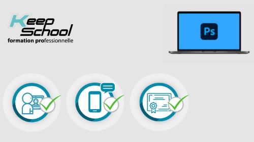 Représentation de la formation : Photoshop préparation TOSA : 100% cours particuliers en visio (20h) + e-learning