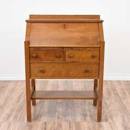 Solid Oak 3 Drawer Secretary Desk