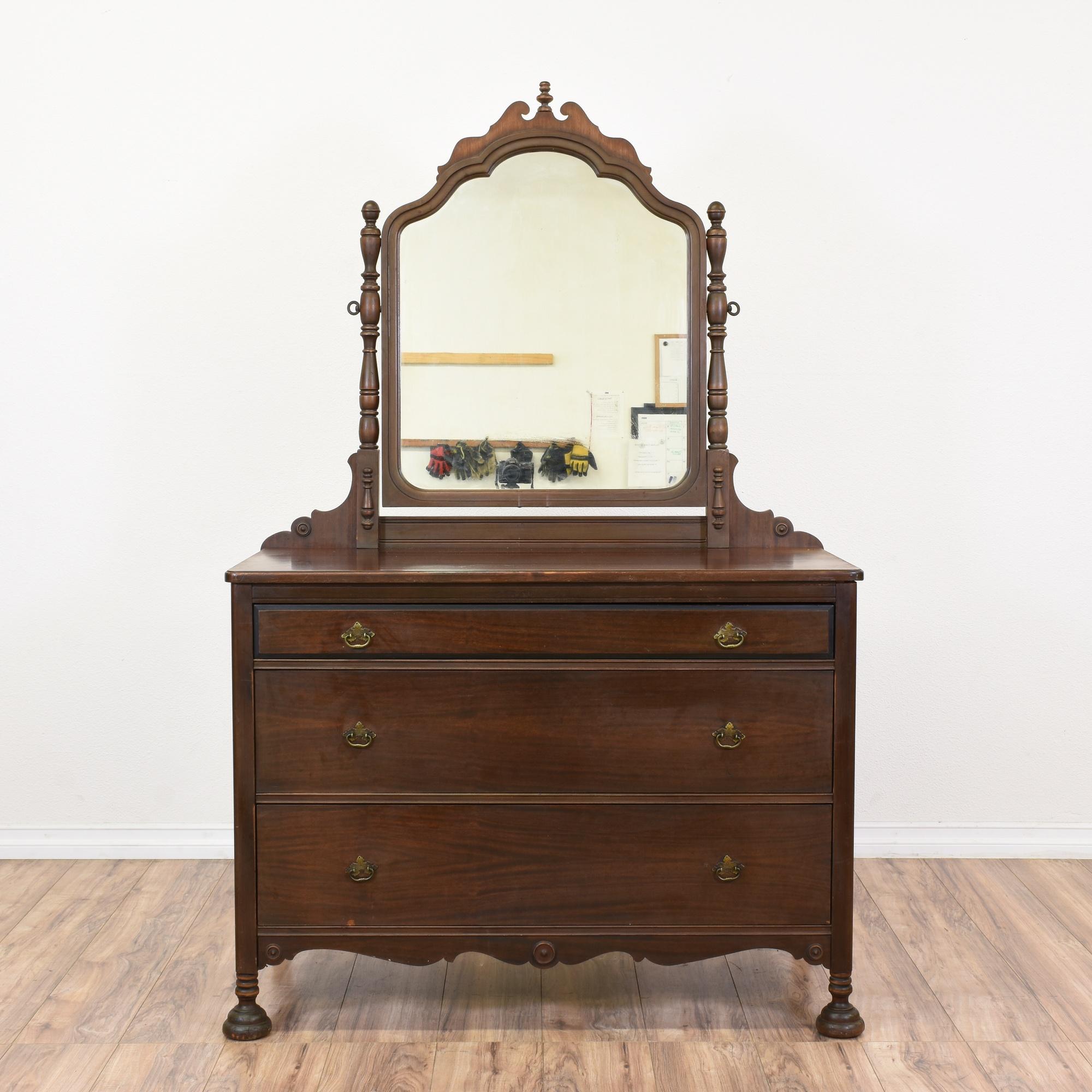 Carved Walnut Vanity Dresser W Mirror Loveseat Vintage