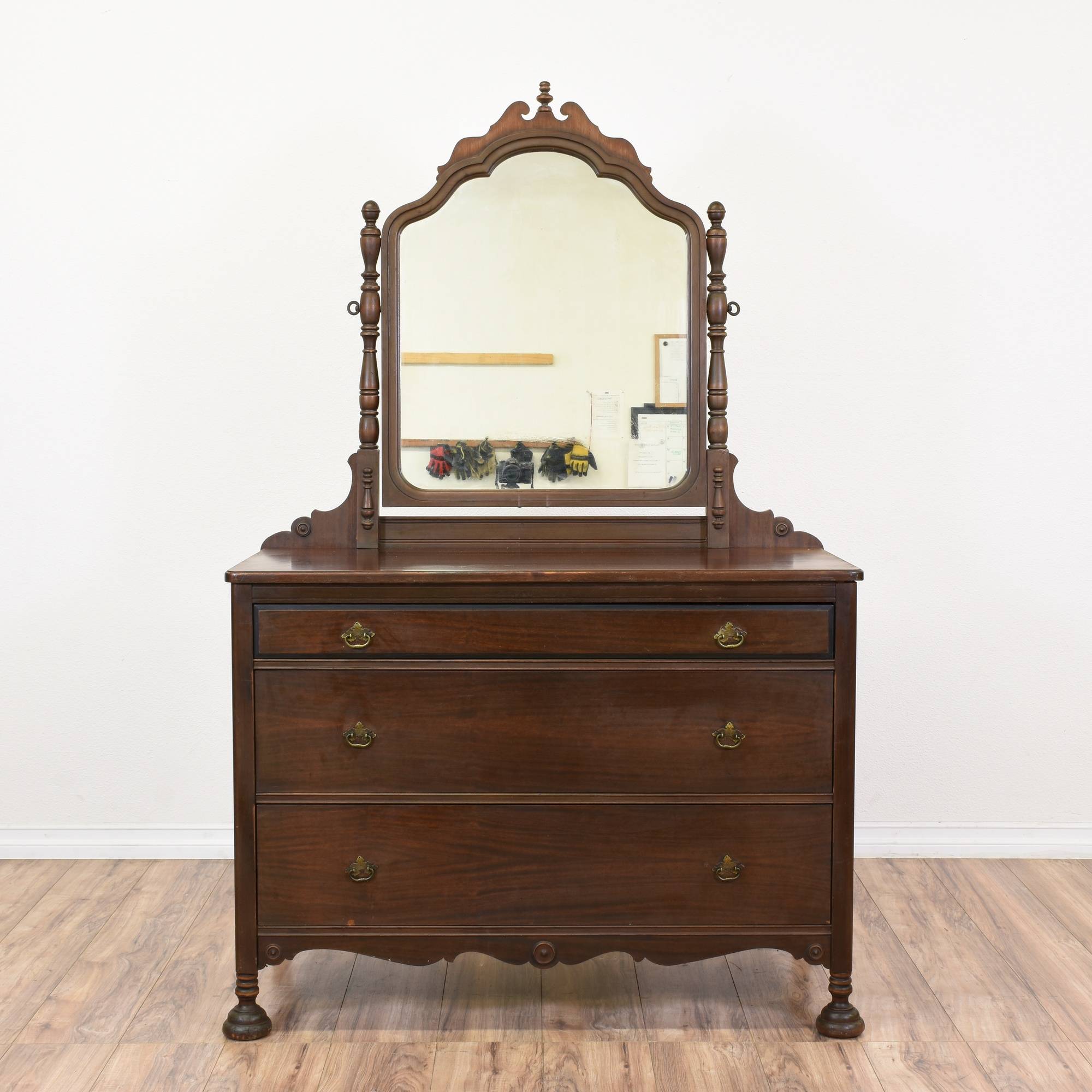 W Furniture: Carved Walnut Vanity Dresser W/ Mirror