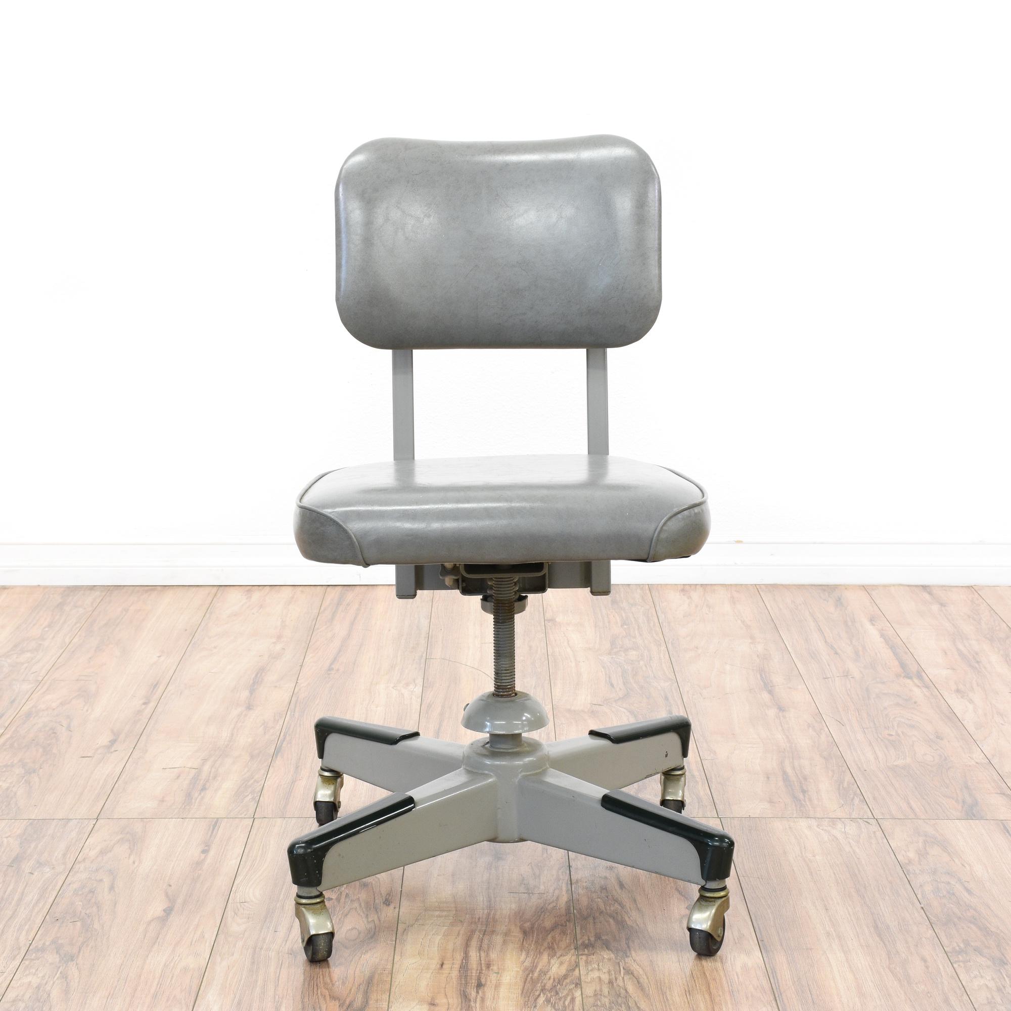 Retro Industrial Gray Vinyl Metal Office Chair Loveseat Vintage Furniture San Diego Los