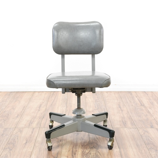 Retro Industrial Gray Vinyl Amp Metal Office Chair