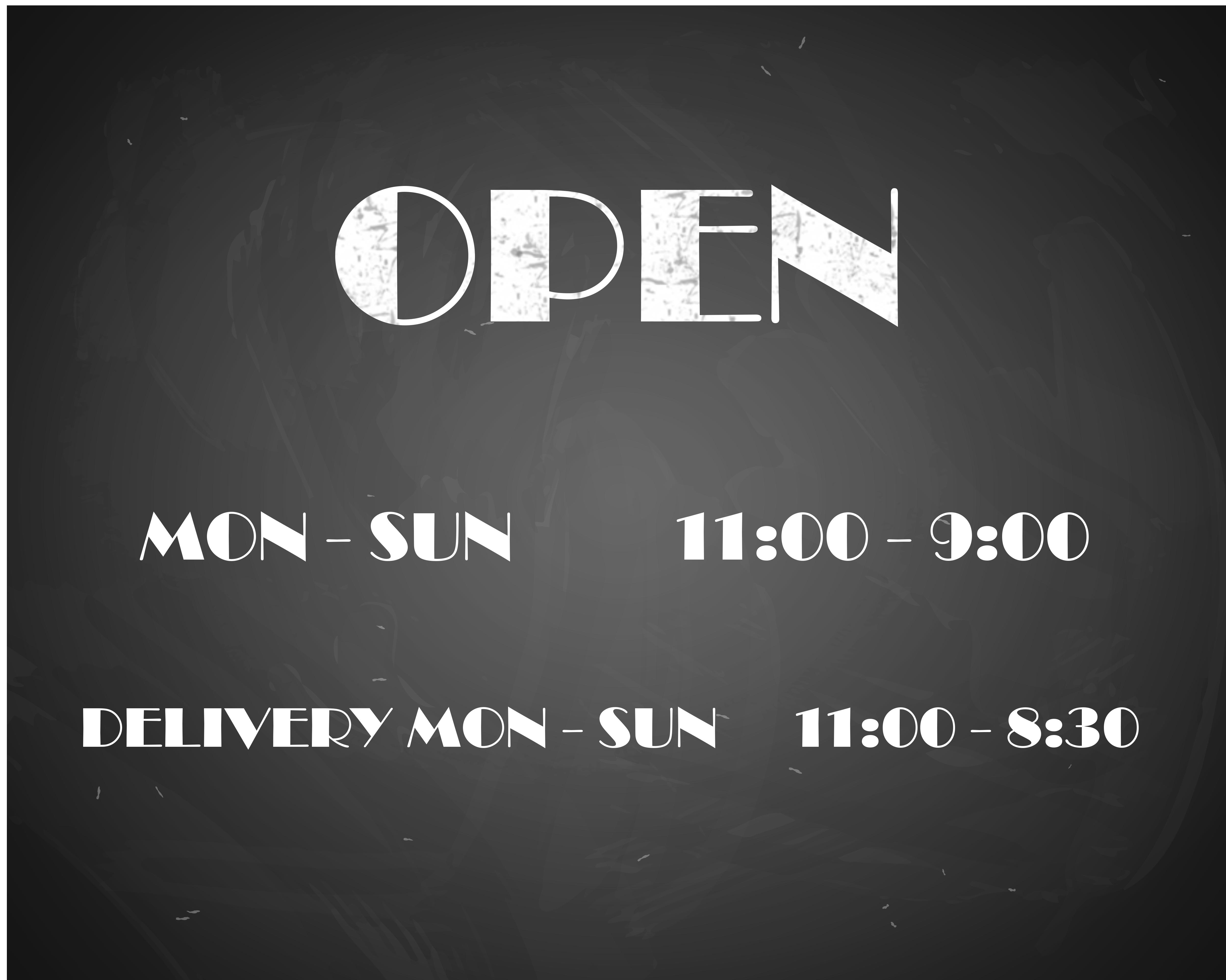 Dine-In Hours:  M-Th 11-3, Fri-Sun 11-3