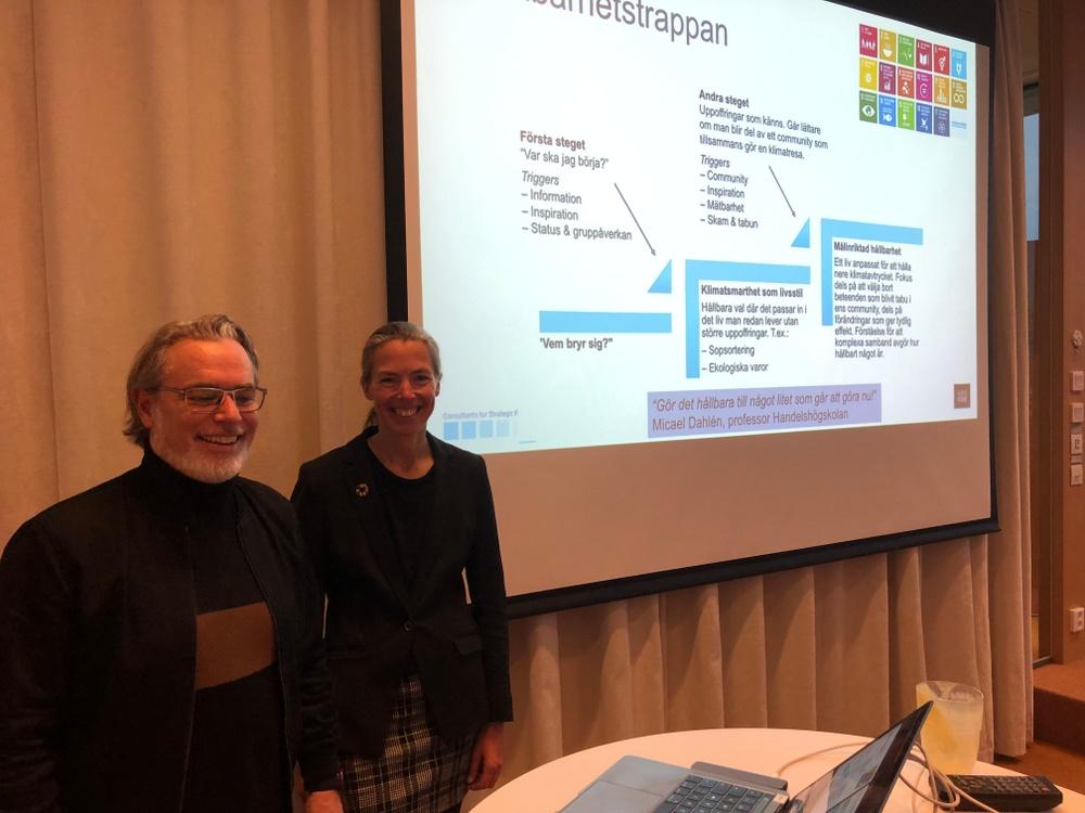 Jörgen Jedbratt, partner Kairos Future och Birgitta Losman, hållbarhetsstrateg vid Borås Science Park presenterar ny rapport om hållbarhetstribes.