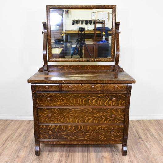 Antique Empire Style Tiger Oak Vanity Dresser Loveseat Vintage
