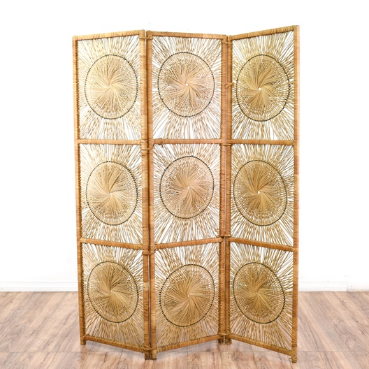 Rattan Sunburst Room Divider Screen Loveseat Vintage