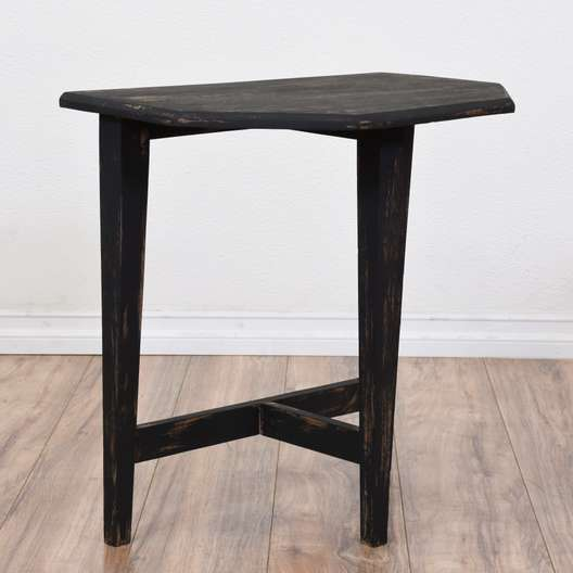 Black Shabby Chic Demilune Side Table