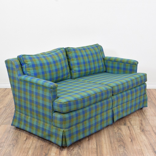 Blue Amp Green Plaid Sofa Loveseat Vintage Furniture San