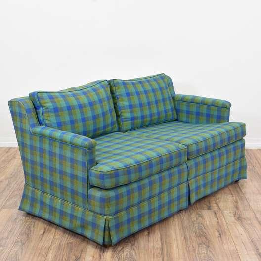 Blue & Green Plaid Sofa