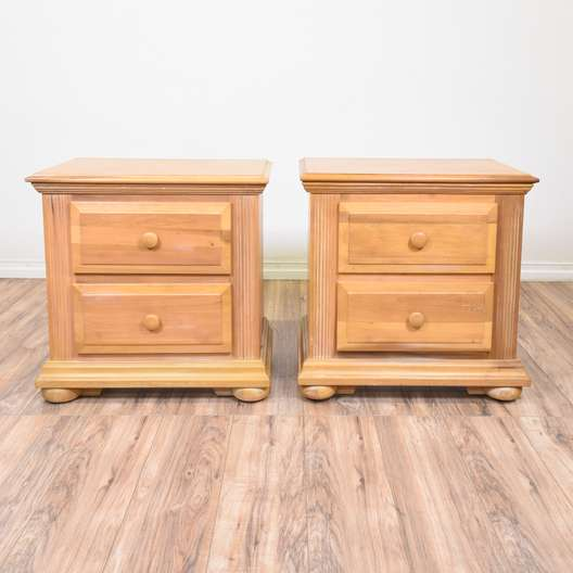 Pair of Carved Light Wood Nightstands