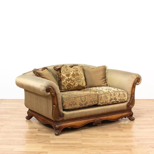 Soft Green Silk Wood Frame Sofa W Rolled Armrest Loveseat Vintage Furniture Los Angeles