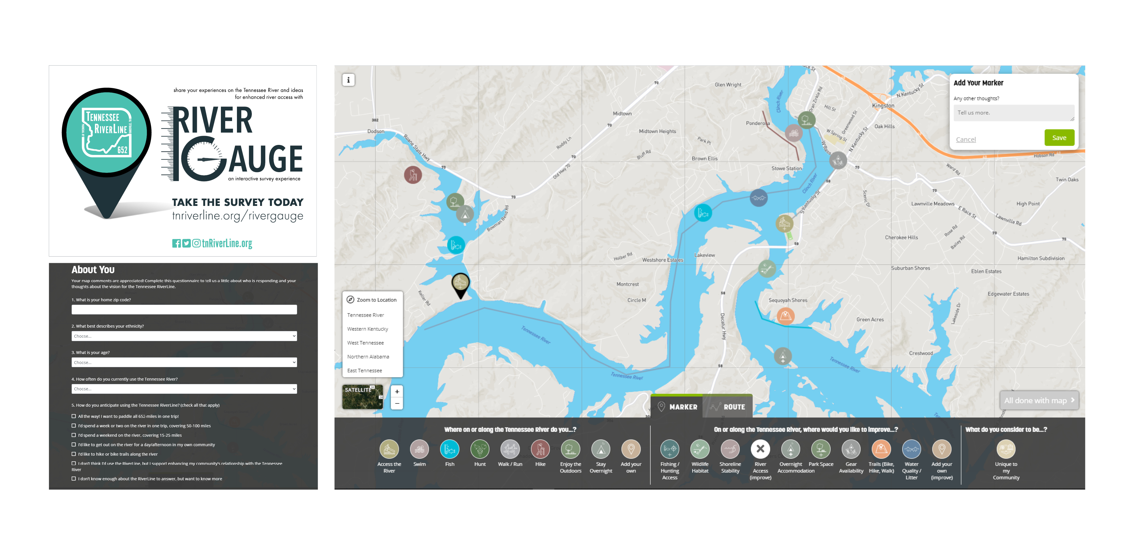 RiverGauge and Online Interactive Survey