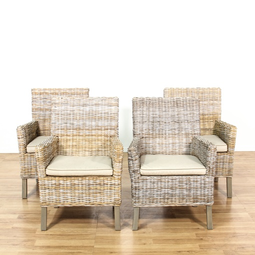 Set Of 4 Driftwood Wicker Outdoor Patio Chairs 2