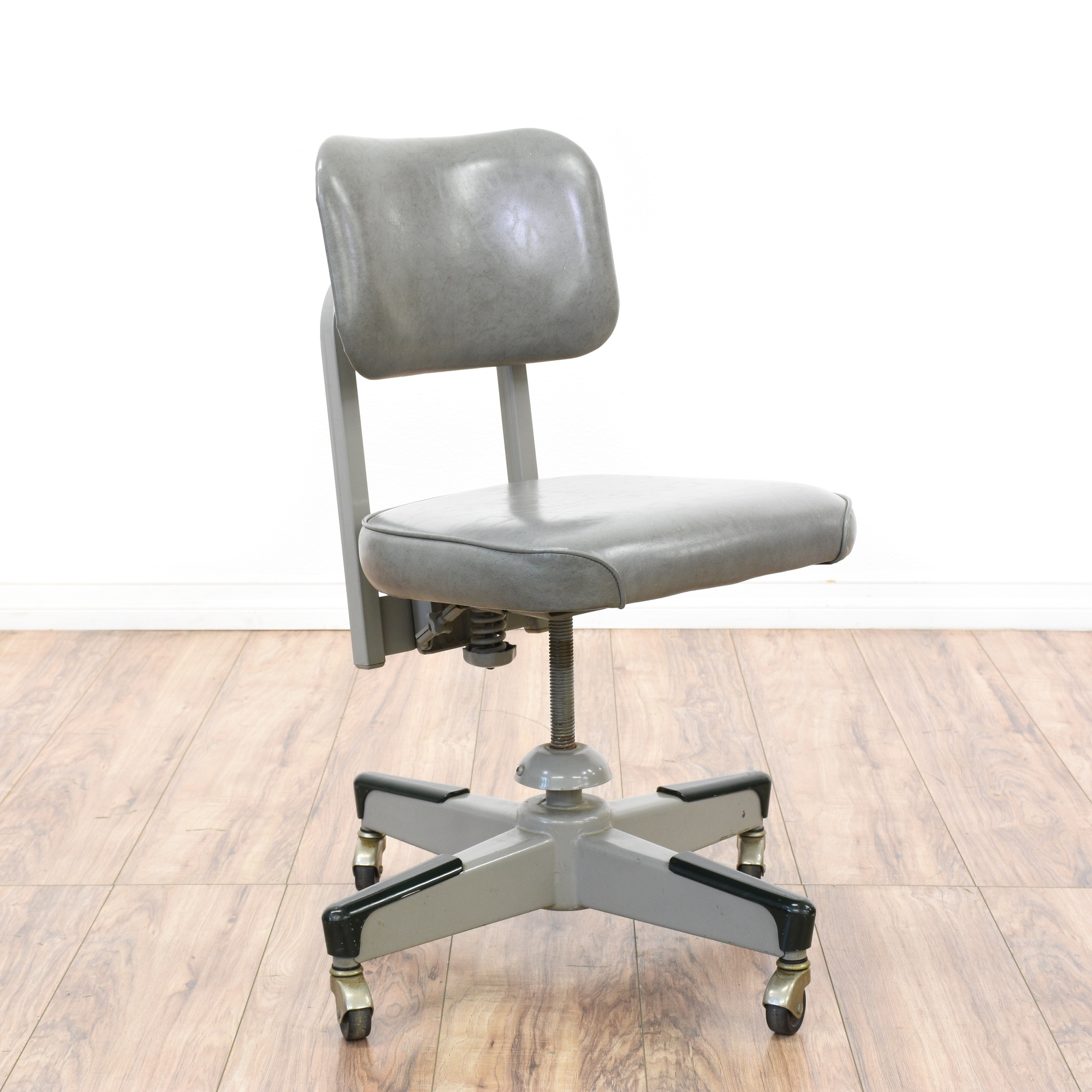 Retro Industrial Gray Vinyl Amp Metal Office Chair