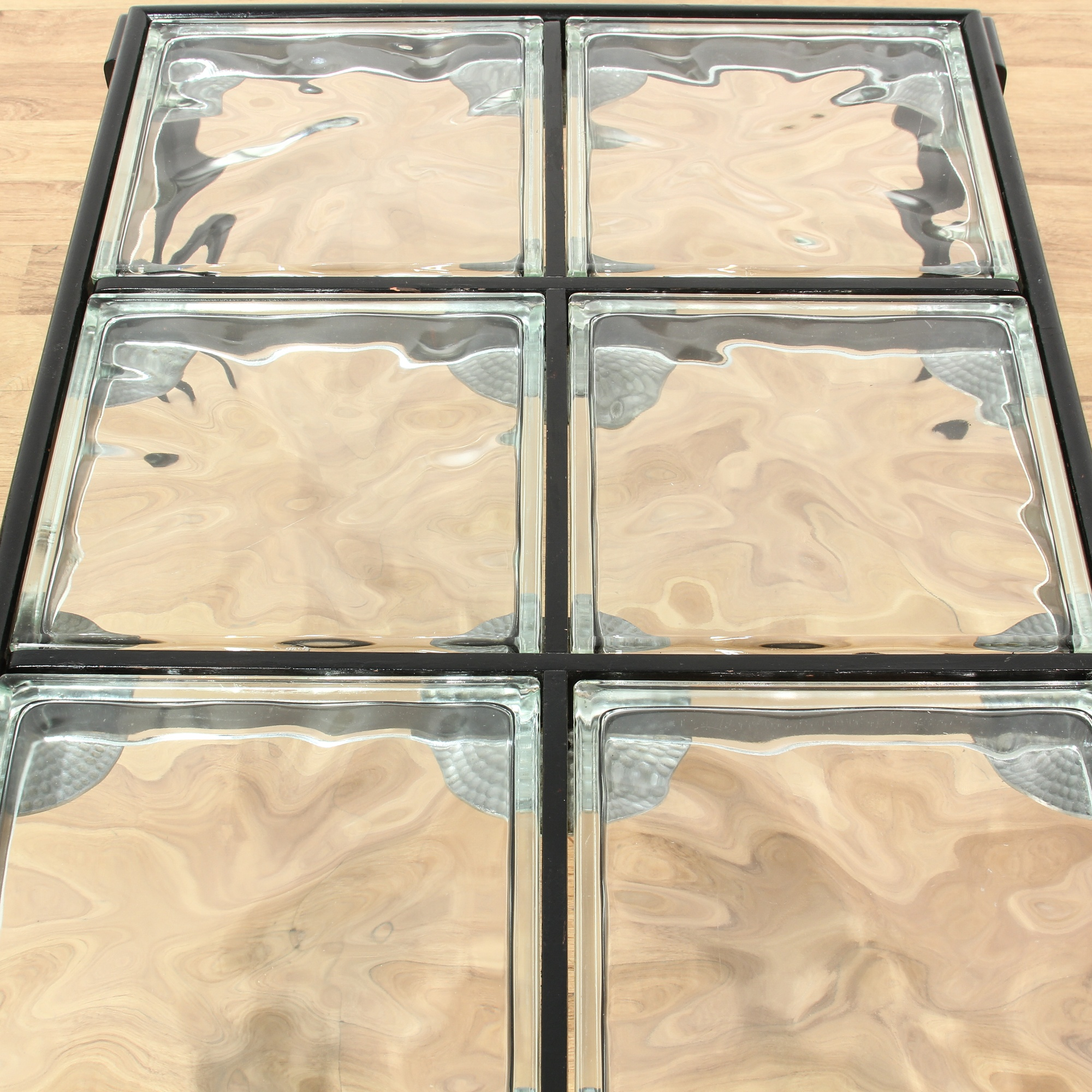 Contemporary Black Glass Coffee Table: Contemporary Black Glass Block Coffee Table