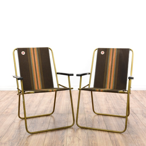 Pair Of 1950s Aluminum Folding Beach Chairs Loveseat Vintage Furniture San Diego Los Angeles