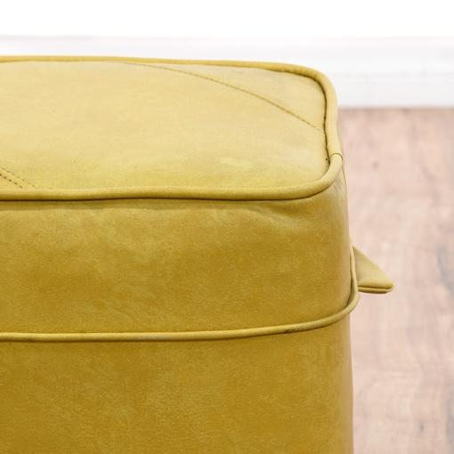Mustard Yellow Vinyl Ottoman Hassock Loveseat Vintage