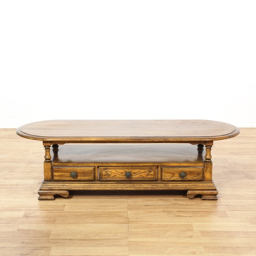 Oval Carved Oak Tiered Coffee Table